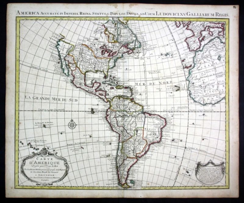 1739 America South North continent map Karte Covens Mortier engraving