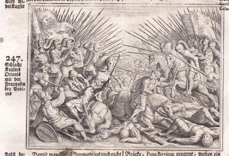 Ca 1700 Otto I Schlacht battle Flandern gravure Kupferstich antique print Merian