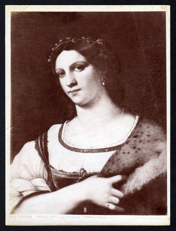 1880 La Fornarina Raffaello Raphael Firenze albumen Foto photo vintage antique