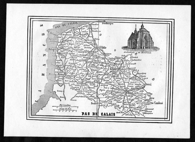 1860 - Pas de Calais Arras St. Omer Frankreich France Departement Karte map