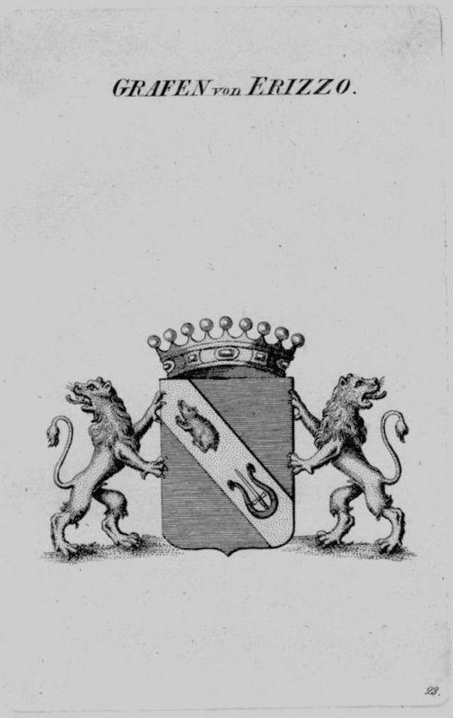 1820 - Erizzo Wappen Adel coat of arms heraldry Heraldik crest Kupferstich