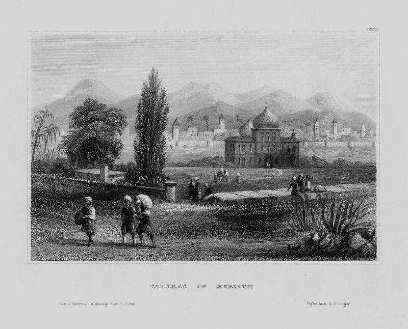 1840 - Schiras Fars Zagros Gebirge Berge Iran Asien Asia engraving Stahlstich