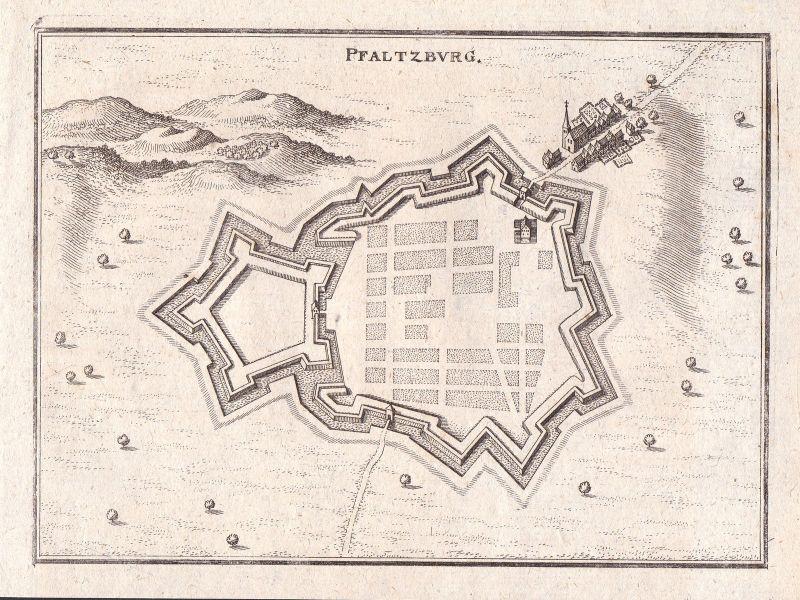 1650 Phalsbourg Lothringen Frankreich Grundriss Merian Kupferstich antique print