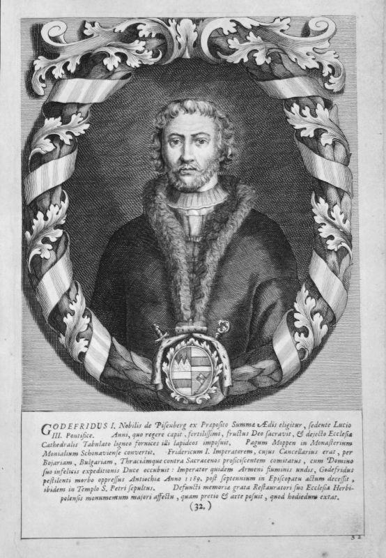 18. Jh. Johann Gottfried I Würzburg Bischof Portrait Kupferstich antique print