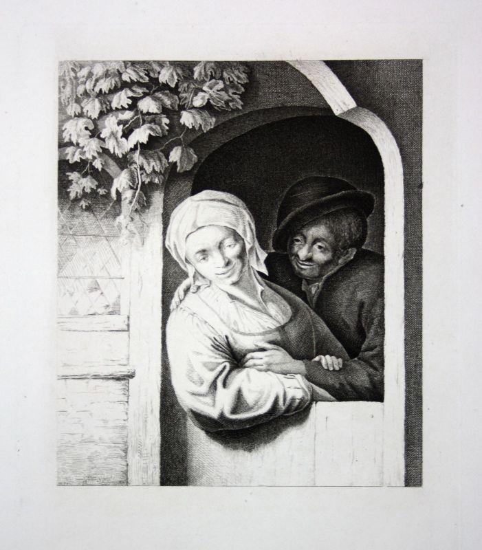 Ca. 1800 Frau Mann Fenster Weinrebe man woman window wine Kupferstich engraving