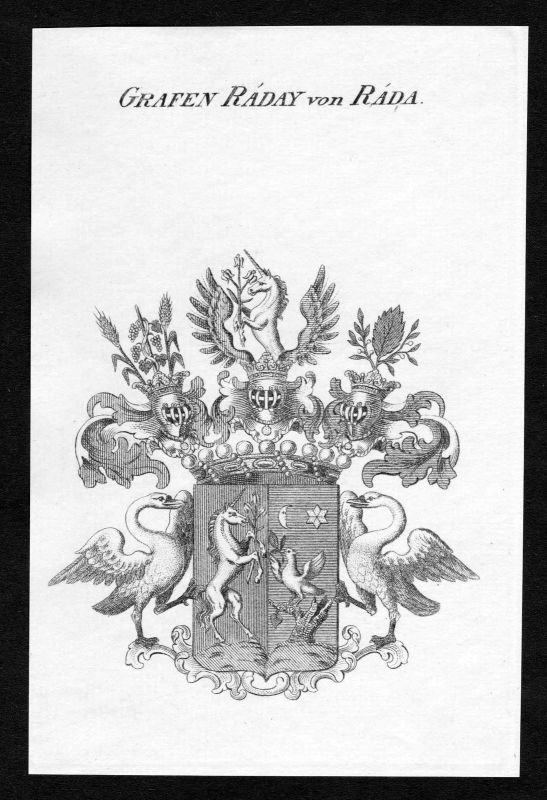 1820 - Raday von Rada Wappen Adel coat of arms heraldry Heraldik Kupferstich