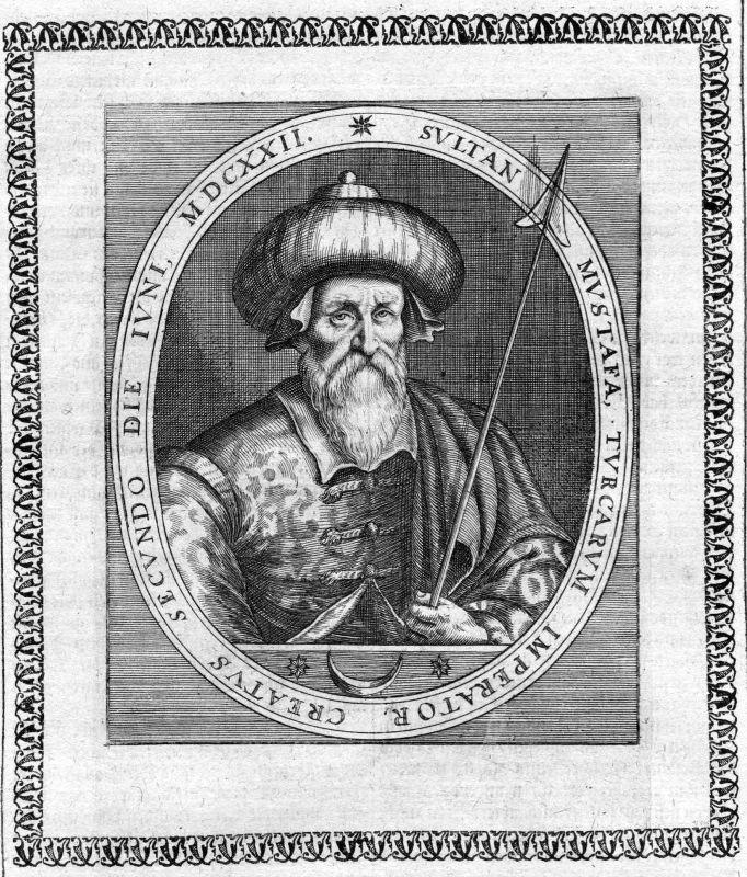 Ca. 1650 Mustafa I Osman Empire Turkey Türkei Portrait Kupferstich antique print