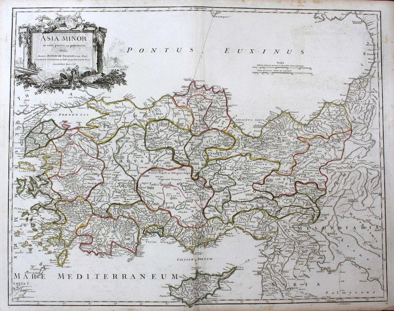 1756 Türkei Turkey Cyprus Zypern Kreta Crete Asia Asien Karte map Kupferstich