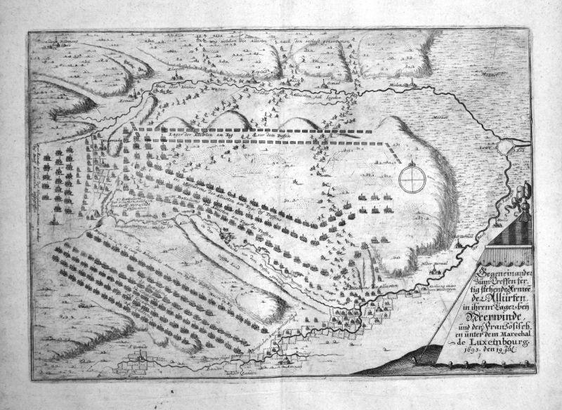 Ca. 1700 Neerwinden Belgique carte gravure map Kupferstich antique print Merian