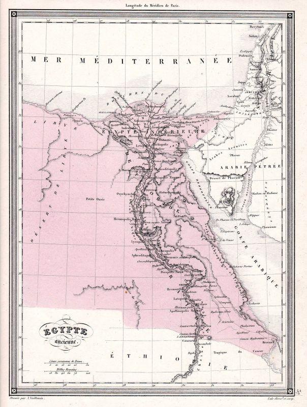 1840 Ägypten Egypt Kairo Arabia Arabien Asien Asia Karte map Vuillemin