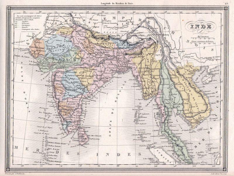 Karte Thailand Kambodscha.1840 India Indien Vietnam Thailand Kambodscha Malaysia Karte Map Vuillemin