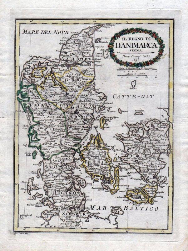 1790 Denmark Dänemark Danmark Kolding Copenhagen Karte map Borghi Pazzini