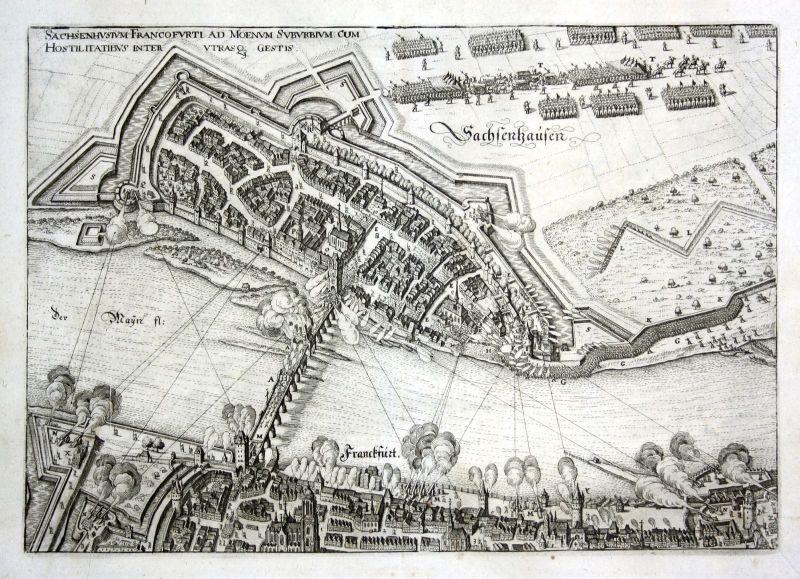 1640 Frankfurt am Main Sachsenhausen Schlacht Ansicht Kupferstich antique print
