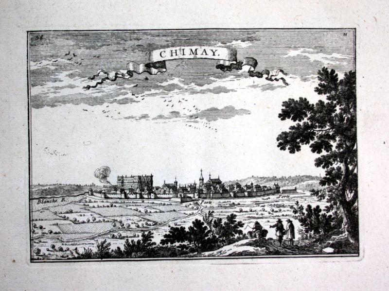 1680 Chimay Hainaut Belgium estampe gravure Kupferstich Beaulieu engraving