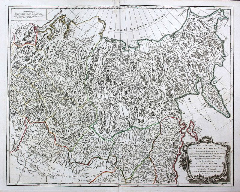 Russland Russia Asien Asia Mongolei Mongolia Karte map Kupferstich antique print