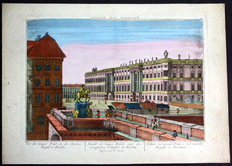 1810 Berlin Guckkastenblatt zograscope Schloss Ansicht Kupferstich antique print