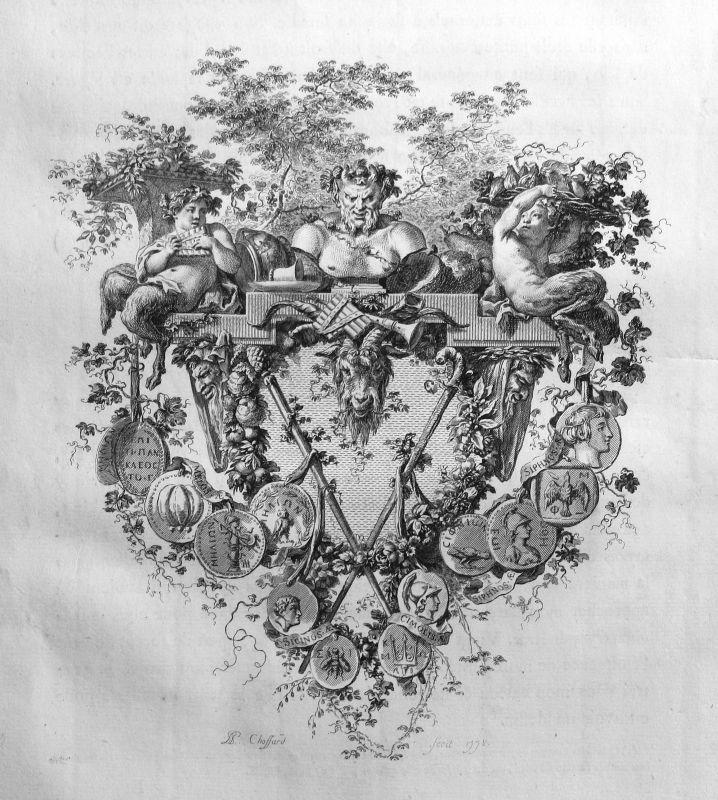 1778 Satyr Medaille medals Statue Kupferstich antique print Chosfard 156869