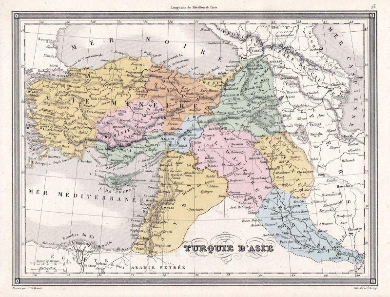 1840 Asia Asien Turkey Türkei Syria Syrien Karte map Vuillemin