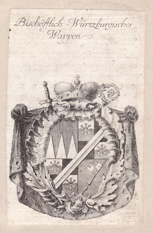 Würzburg Bayern Bavaria Franken Franconia Adel Wappen coat of arms Kupferstich