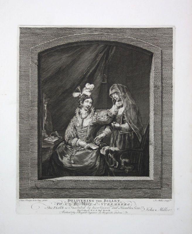 Ca. 1800 letter Brief note Frau woman delivery Kupferstich engraving Miller Cruz