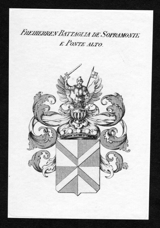 1820 - Battaglia de Sopramonte e Ponte Alto Wappen Adel coat of arms Heraldik