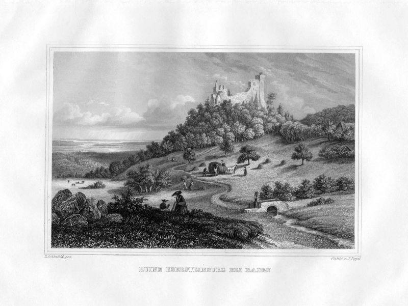 1850 Ruine Ebersteinburg bei Baden Baden-Württemberg Stahlstich Poppel Schönfeld