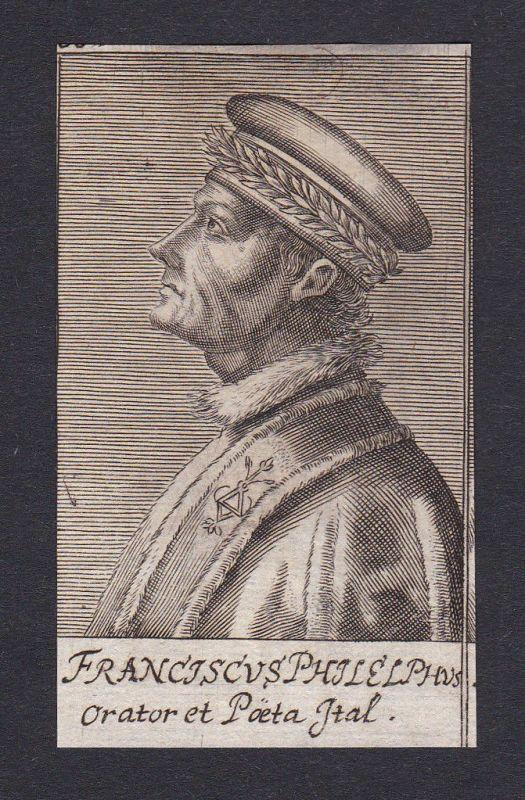 17. Jh. - Francesco Filelfo / humanist poet Firenze Portrait Kupferstich