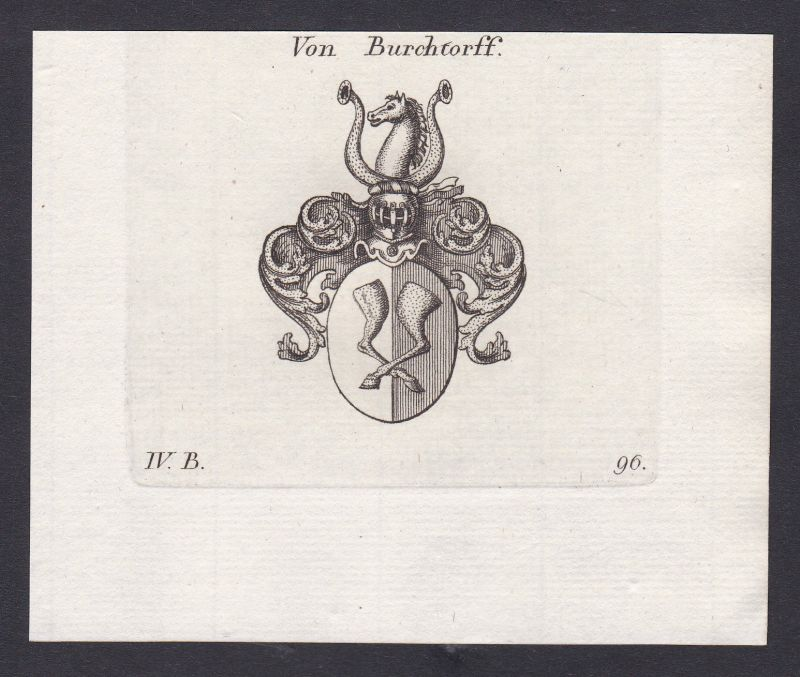 1820 Burchtorff Wappen Adel coat of arms Heraldik Kupferstich antique print