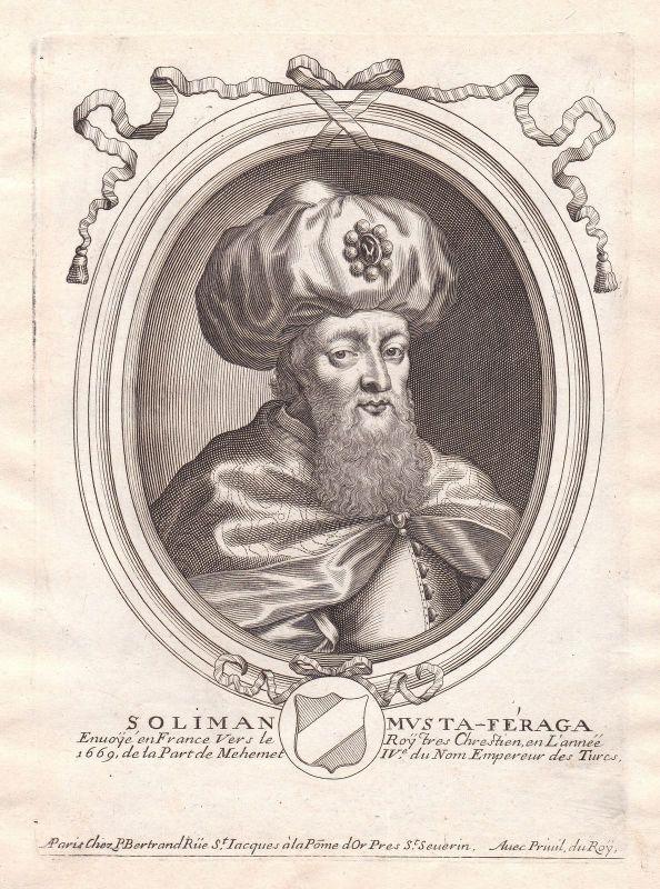 1680 Suleiman Aga Ottoman Empire ambassador Portrait Kupferstich engraving