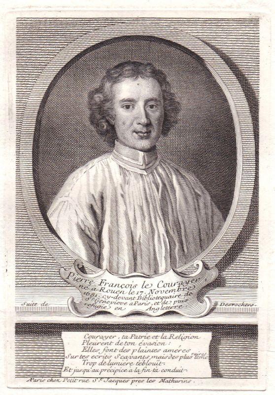 17. Jh Pierre Le Courayer Rouen London theologien gravure Portrait antique print