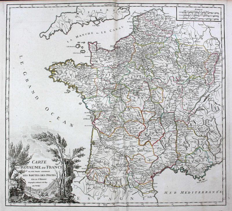 Toulouse Karte.1758 Toulouse Nantes Marseille Paris Frankreich France Karte Map Kupferstich
