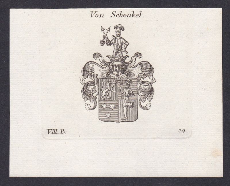1820 Schenkel Wappen Adel coat of arms Heraldik Kupferstich antique print