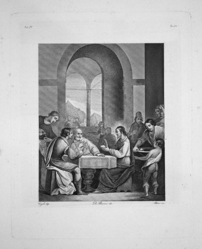 Ludovico Cigoli - La Cene a Emmaus - Radierung engraving gravure