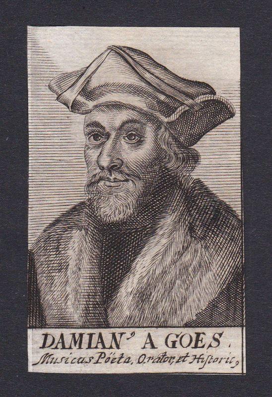 17. Jh. Damianus de Goes diplomat Portrait Kupferstich antique print Portugal