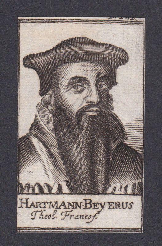 17. Jh. Hartmann Beyer / theologian Theologe Frankfurt Portrait Kupferstich