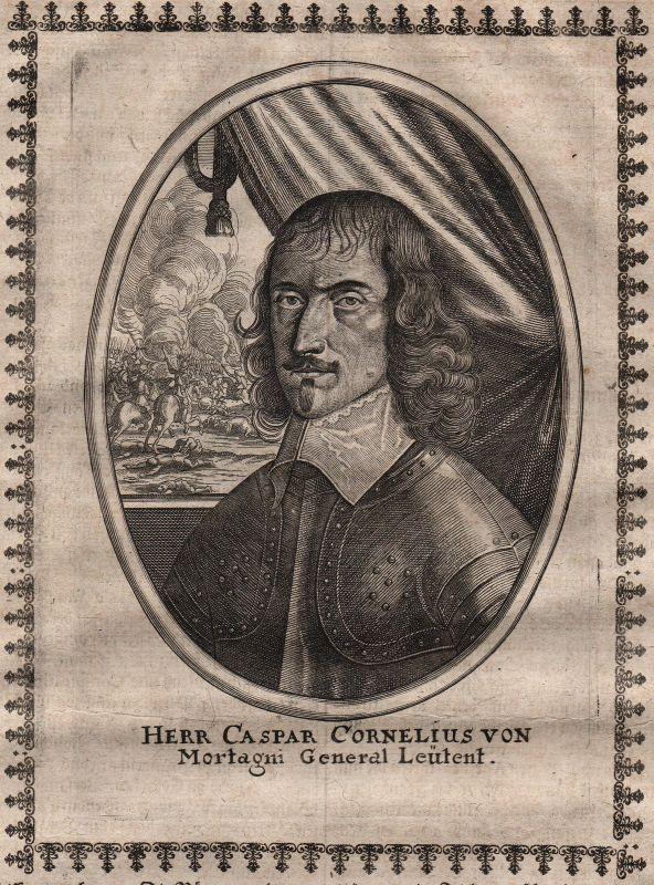 Caspar Cornelius von Mortagni Portrait Kupferstich gravure Merian ca.1650