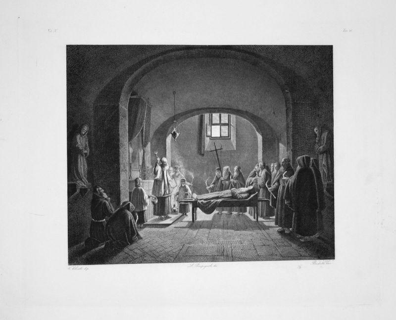 Vincenzo Chialli - Funerailles d'Un Capucin - Radierung engraving gravure
