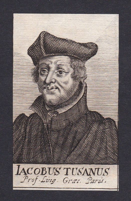 17. Jh. Jacques Toussain professeur Paris Portrait Kupferstich antique print