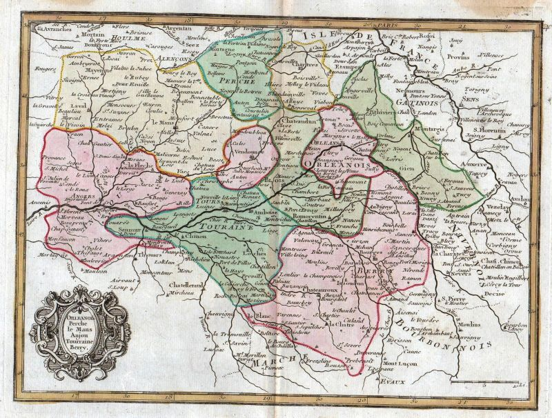 1767 Orleans Tours France gravure carte map Kupferstich antique print Le Rouge