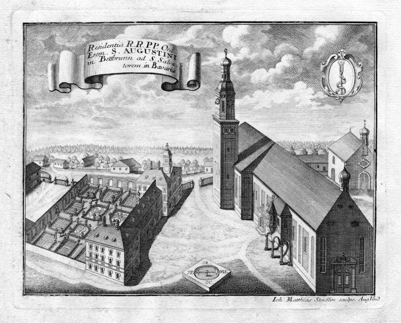 1731 Kloster Bettbrunn Augustiner Bayern Kupferstich antique print Steidlin