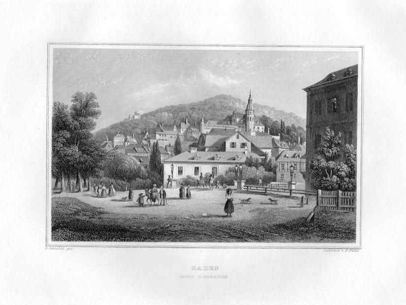 1850 Baden gegen Nordwesten Baden-Württemberg Stahlstich Wallis Schönfeld