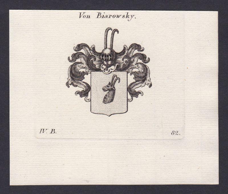 1820 Biarowsky Wappen Adel coat of arms Heraldik Kupferstich antique print