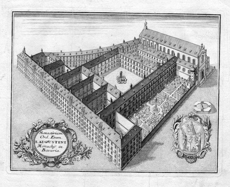 1731 München Augustiner Kloster Bayern Kupferstich antique print Steidlin