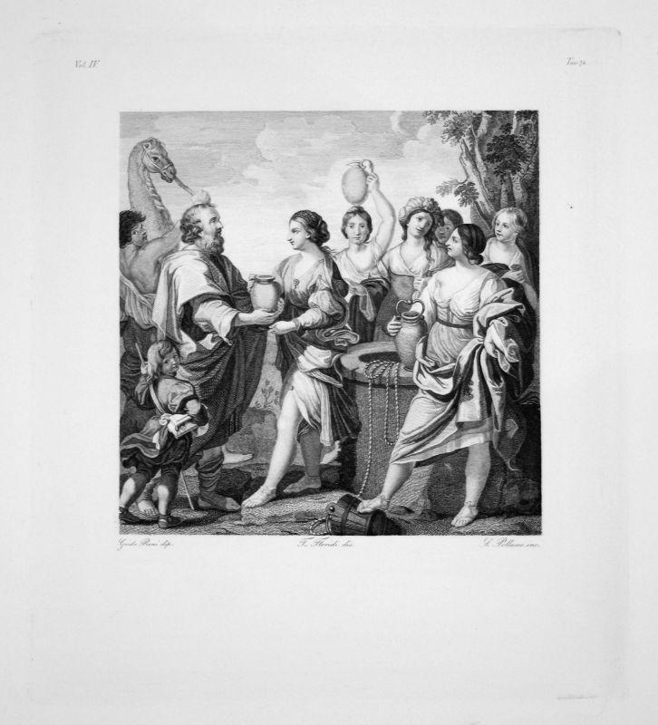 Guido Reni - Eliezer et Rebecca - Radierung engraving gravure