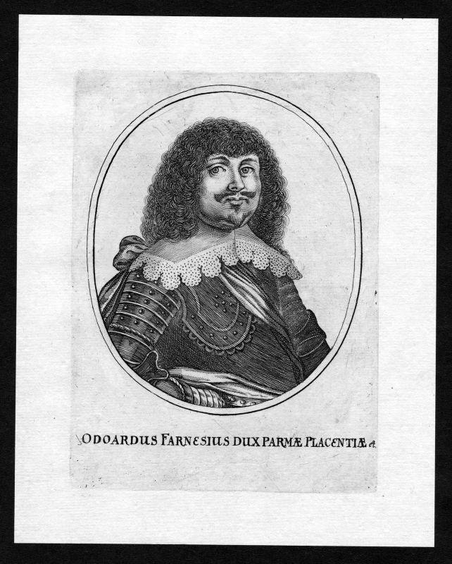 17. Jh. Odoardo I. Farnese Portrait incisione Kupferstich antique print