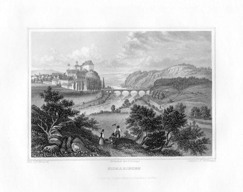 1850 Sigmaringen Baden-Württemberg Deutschland Stahlstich Willmann Abresch