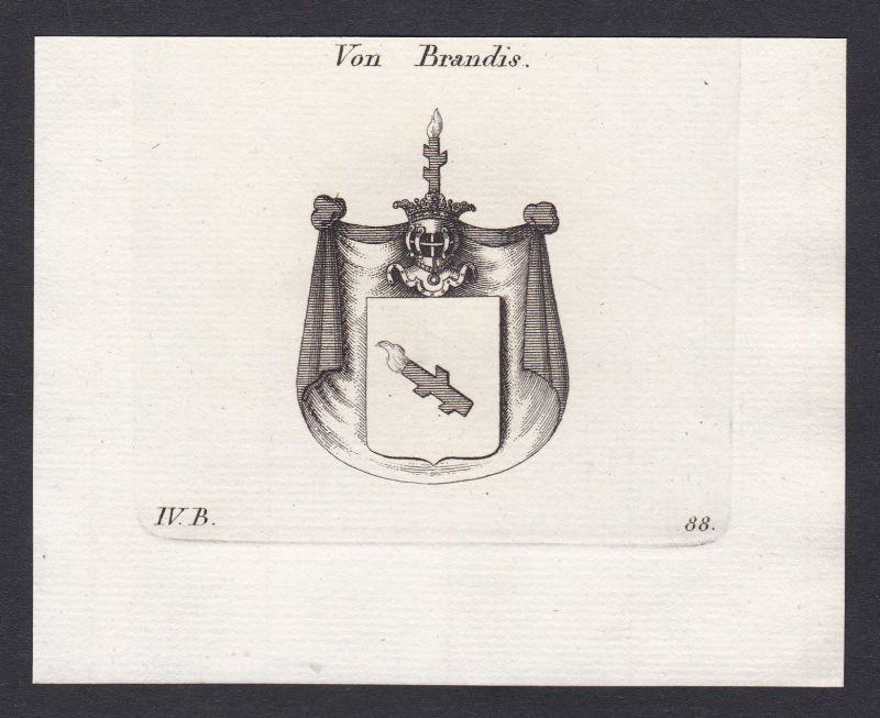 1820 Brandis Schweiz Svizzera Wappen Adel coat of arms Kupferstich antique print