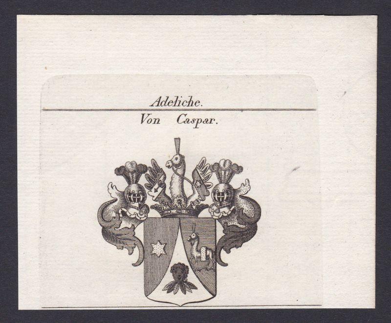 1820 Caspar Wappen Adel coat of arms heraldry Heraldik Kupferstich antique print