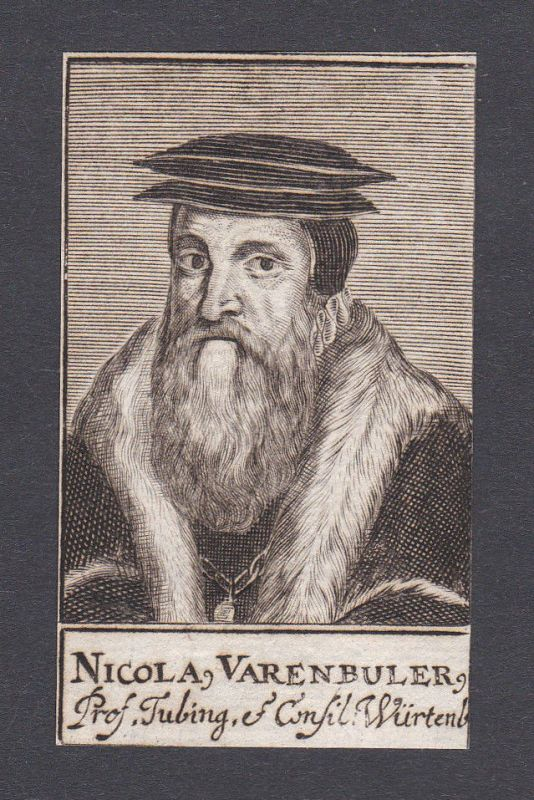 17. Jh. - Nicolaus Varnbüler / diplomat professor Tübingen Portrait Kupferstich
