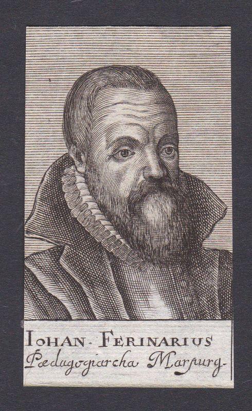 17. Jh. Johannes Ferinarius / theologian Theologe Marburg Portrait Kupferstich